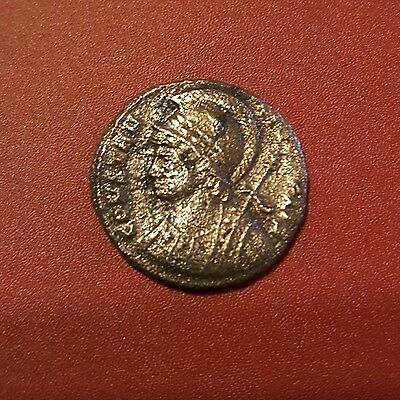 Constantinus and his son Helmeted Ancient ROMAN Coin