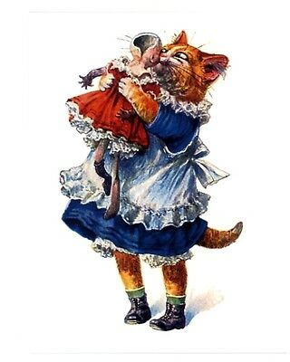 modern cat postcard dressed Thiele girl cat hugs and kisses broken doll better