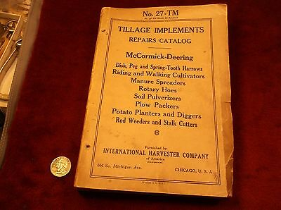 "RARE 1927 BOOK ""No. 27-TM TILLAGE IMPLEMENTS REPAIRS CATALOG, McCORMICK-DEERING"""