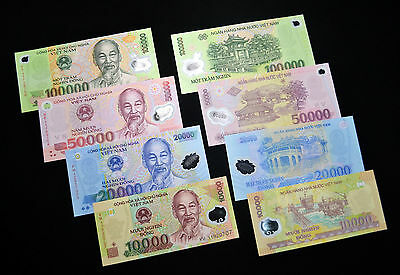 Vietnam Polymer Banknote 10,000 /20,000 / 50,000 /100,000 Dong 4 NOTE UNC MONEY