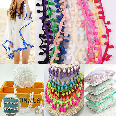 20Yards/Lot 8MM DIY PomPom Trim Ball Fringe Ribbon Lace Home Party Sewing Crafts
