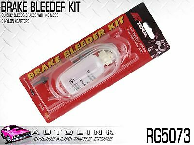 One Man Brake Bleeder Kit With 3 Adapters Fits Most Brake Systems Rg5073