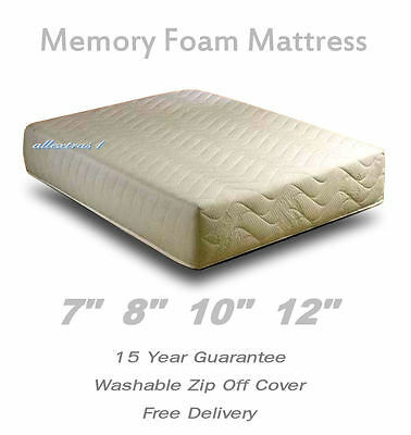 "MEMORY FOAM ORTHOPAEDIC MATTRESS SINGLE 3ft DOUBLE 4ft6 KING 5ft - 7"" 8"" 10"" 12"""