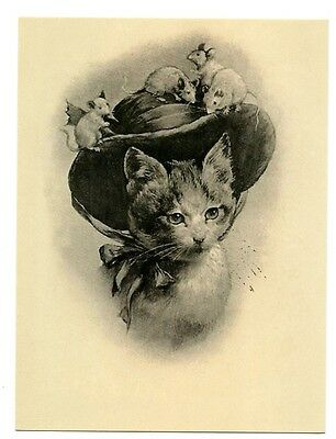 modern cat postcard Reichert lovely lady cat w mice on her bonnet CAT CHARITY