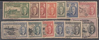 Turks & Caicos Islands 1950 Complete Used Set Of 13 Sg 221 - 233