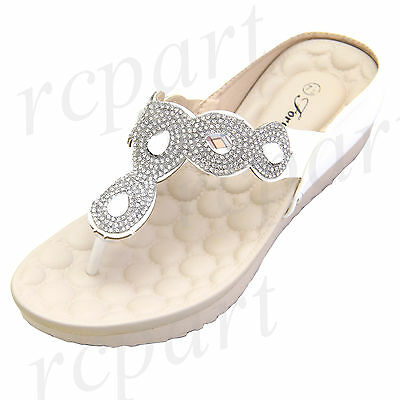 New women's shoes open toe t strap rhinestones sandals summer casual White