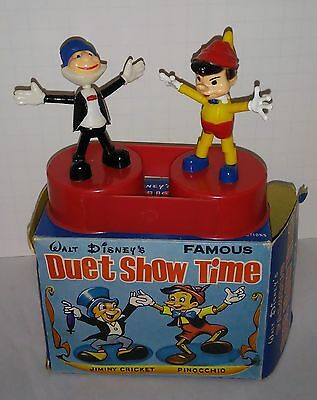 Marx Pinocchio and Jiminy Cricket double push puppet mint in nice box No damage
