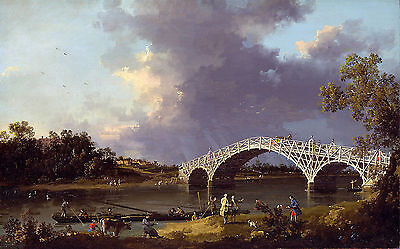 Canaletto View of Walton Bridge Painting Poster Fine Art Re-Print A3 A4