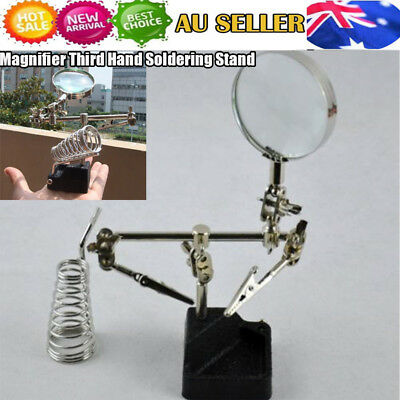 3rd Helping Hand  Magnifying Soldering Iron Stand Holder Lens Magnifier 3X AHG