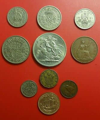 66th Birthday 1951 George VI British Pre-Decimal Coin Set Festival of Britain