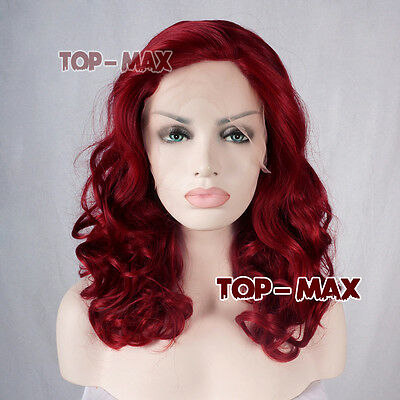 Fashion Red Lady 16 Inches Long Curly Lace Front Wig Heat Resistant