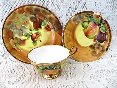 Hose St Pottery Tunstall Porcelain Hand Painted Fruits Trio Signed M&a Bloor #1