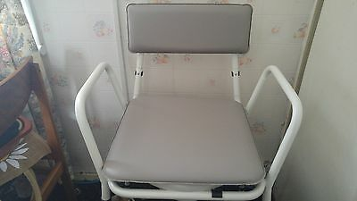 Commode Chair Height Adjustable Hinged Toilet Seat.Padded Back and Overseat.