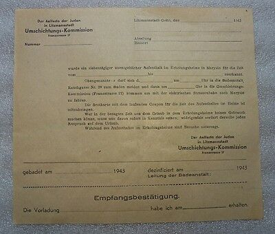 German WWII Litzmannstadt Ghetto Holokaust Document