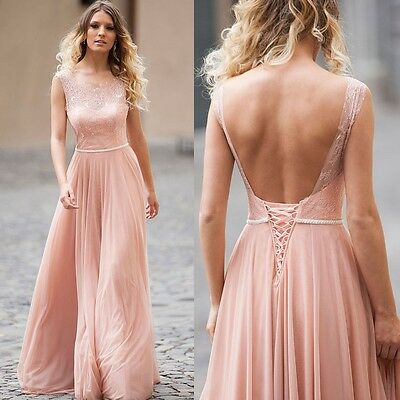 Formal Pink Lace Backless Handmade Prom Evening Dress Wedding Party Bridal Gown