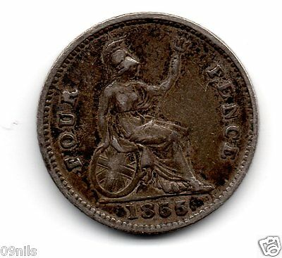 1855 Silver Queen Victoria Young Head Fourpence Groat Coin Britannia GB #B5