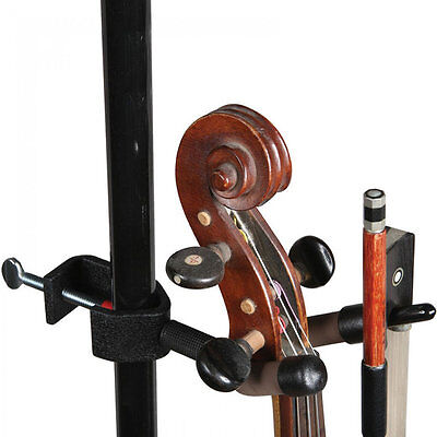 Microphone-stand HANGER FOR VIOLIN. Fits to mic stand to hang violin.