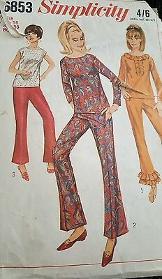 Vintage 60's / 70's sewing pattern lounge suit / flared trousers and blouse