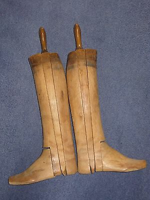 Vintage Long Leather Riding Hunting Equestrian Boots Wood Trees Lasts Stretchers