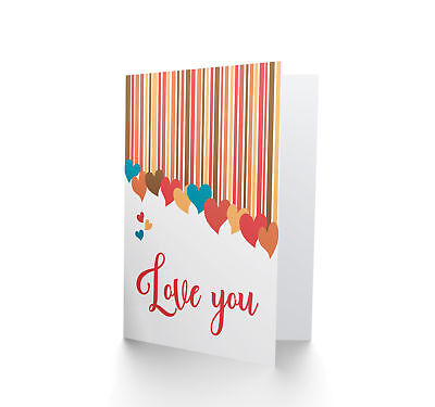 Love You Valentines Hearts Card Blank Greeting Card CP3323