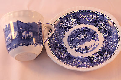 Adams Ironstone Cup & Saucer Blue & White Country Scene Retro Vintage