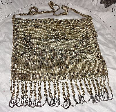 Antique French Stunning Steel Cut Beads Silver Purse Rose Design Victorian