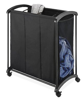 Triple Laundry Sorter Black Clothes Organizer Basket Bin Bag Durable Fabric Mesh