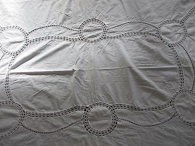 Vintage White Cotton Lace & embroidered  Tablecloth 200 x 155 cms