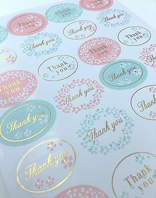 "Coloured Thank You Stickers""Wedding Gift Seals,Sticky Labels,Luxury,Postage"