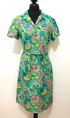 CULT VINTAGE '70 Abito Vestito Donna Cotton Flower Optical Woman Dress Sz.L - 46
