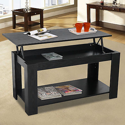 Modern Lift Up Top Coffee Table With Storage Shelf Living Room Furniture Black