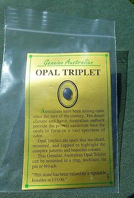 Genuine Australian OPAL TRIPLET with Card - Suitable for Jewellery Mounting