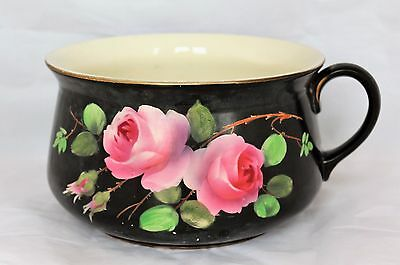 ANTIQUE OXFORD WARE IRONSTONE ENGLAND Chamber Pot Potty hand painted Roses