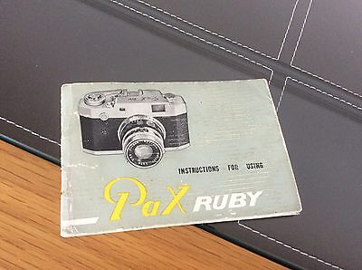 Instructions For pax Ruby Camera (vintage)