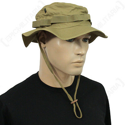 British Coyote Rip Stop Boonie Hat with Neck Flap - Sun Peak Bucket Bush Cap New
