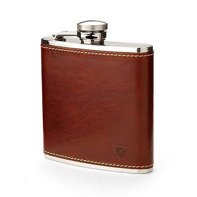 Aspinal of London Classic Leather Hip Flask. Smooth Cognac. DR Embossed.