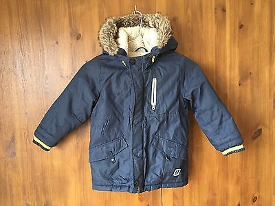 NEXT WINTER PARKA JACKET Navy Blue Fur Lined with Gilet 3-4 Years / 104cm - VGC