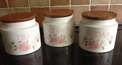 Boots hedge rose Tea/coffee/sugar Canisters