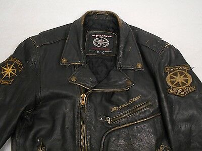 Vintage ROYAL STAR Yamaha BLACK LEATHER Motorcycle JACKET XL Well Worn Roached