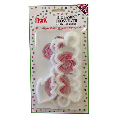FMM Cutter Easiest Peony Ever + Leaf Icing Cutter Fondant Cutting Tool for Cakes