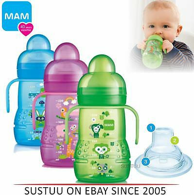 Mam Cartoon Trainer Bottle Baby Learning Cup Non-Spill Spout with Handles 220ml