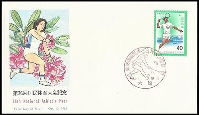 Sports,Racket game,Badminton,36th National Athletic Meet,Japan 1981 FDC,Cover