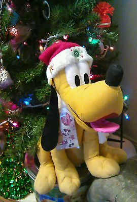 Disney Store Exclusive Christmas Pluto Stuffed Plush Mickey Mouse Dog