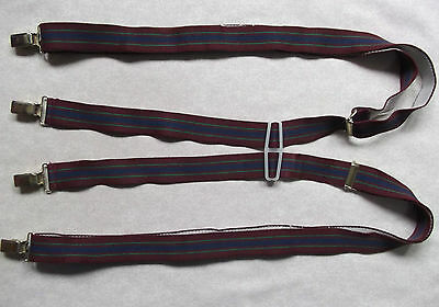 VINTAGE 25mm SKINHEAD SKA CLIP ON BRACES 1970s MENS BURGUNDY NAVY GREEN STRIPED