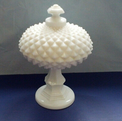 vintage westmoreland English hobnail milk glass footed candy dish with lid