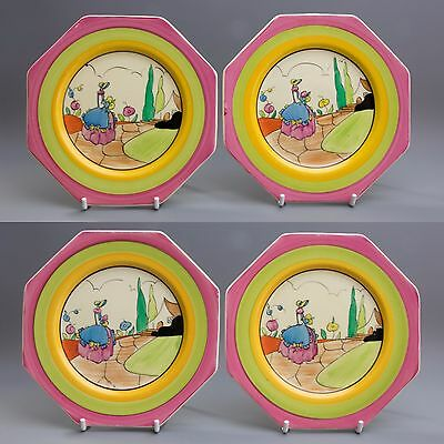 A Set of four Clarice Cliff Bizarre Idyll Pattern Small Plates c 1930-33