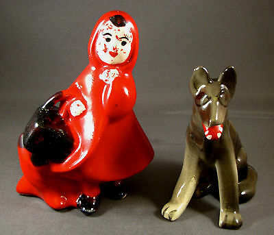 Scarce Vintage Little Red Riding Hood & The Wolf Ceramic Salt and Pepper Shakers
