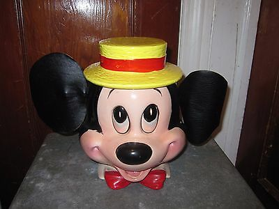Vintage Enesco Mickey Mouse Cookie Jar With Leather Ears