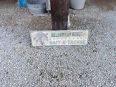 """Allegheny River Indian Bait and Tackle Wooden Store Advertising Sign 41"""" x 12"""""""