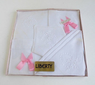 3 Liberty of London Pure Irish Linen Embroidered Handkerchiefs in Original Box